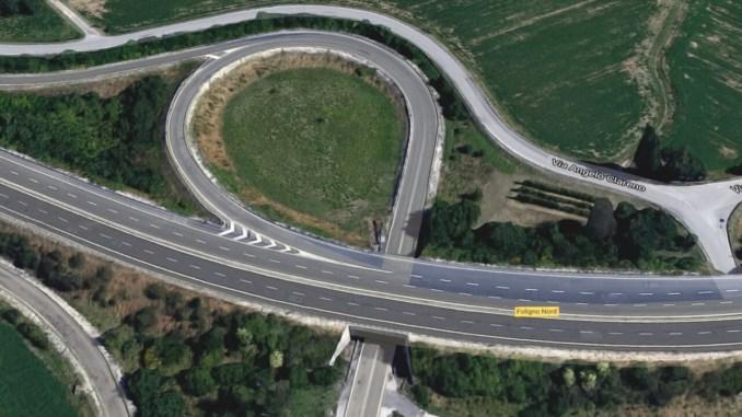 Cantiere stradale sulla SS3 Flaminia a Foligno, svincolo nord, innesto SS 75 Centrale Umbra