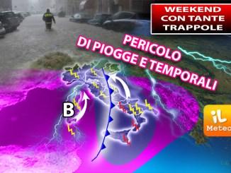 Al Nord ultime piogge esclusivamente su Alpi e Prealpi con locali sconfinamenti sulle vicine pianure.