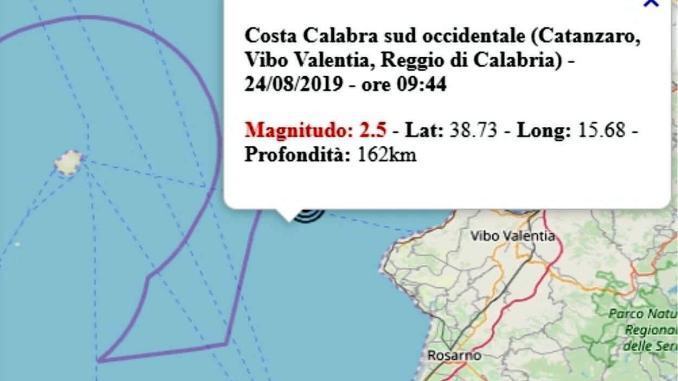 Terremoto in Calabria oggi 24 agosto 2019, scossa M 2.5 costa calabra – Dati Ingv