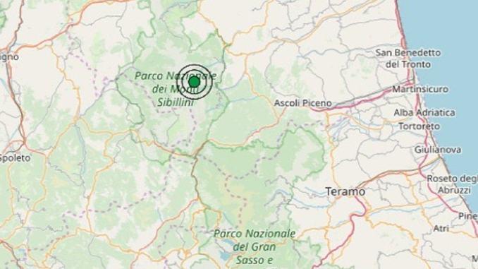 Scossa di terremoto nelle Marche area Montemonaco di Ascoli, dato Ingv