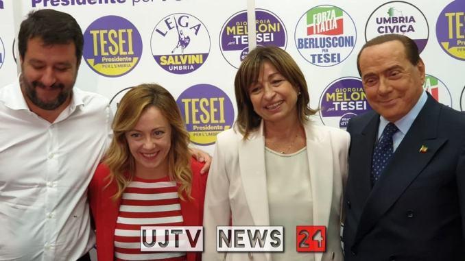 Elezioni Umbria, Berlusconi, Meloni e Salvini insieme a Perugia | La diretta