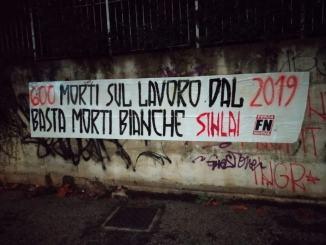 Basta morti bianche striscione affisso anche a Perugia