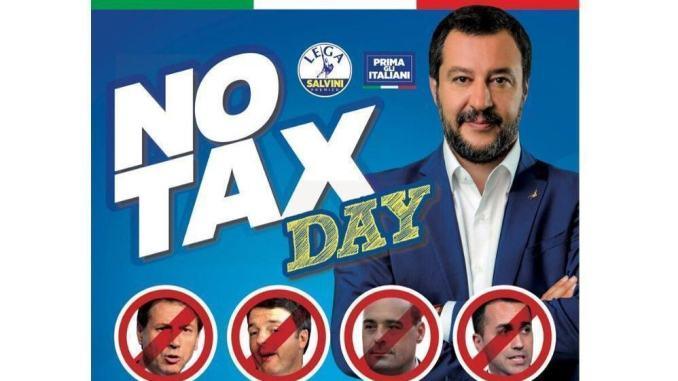 """La Lega di Matteo Salvini lancia il """"No tax day"""", sabato 14 dicembre"""