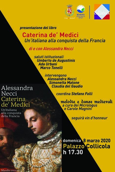 """Presentazione del libro di Alessandra Necci """"Caterina de' Medici - Un'italiana alla conquista della Francia""""."""