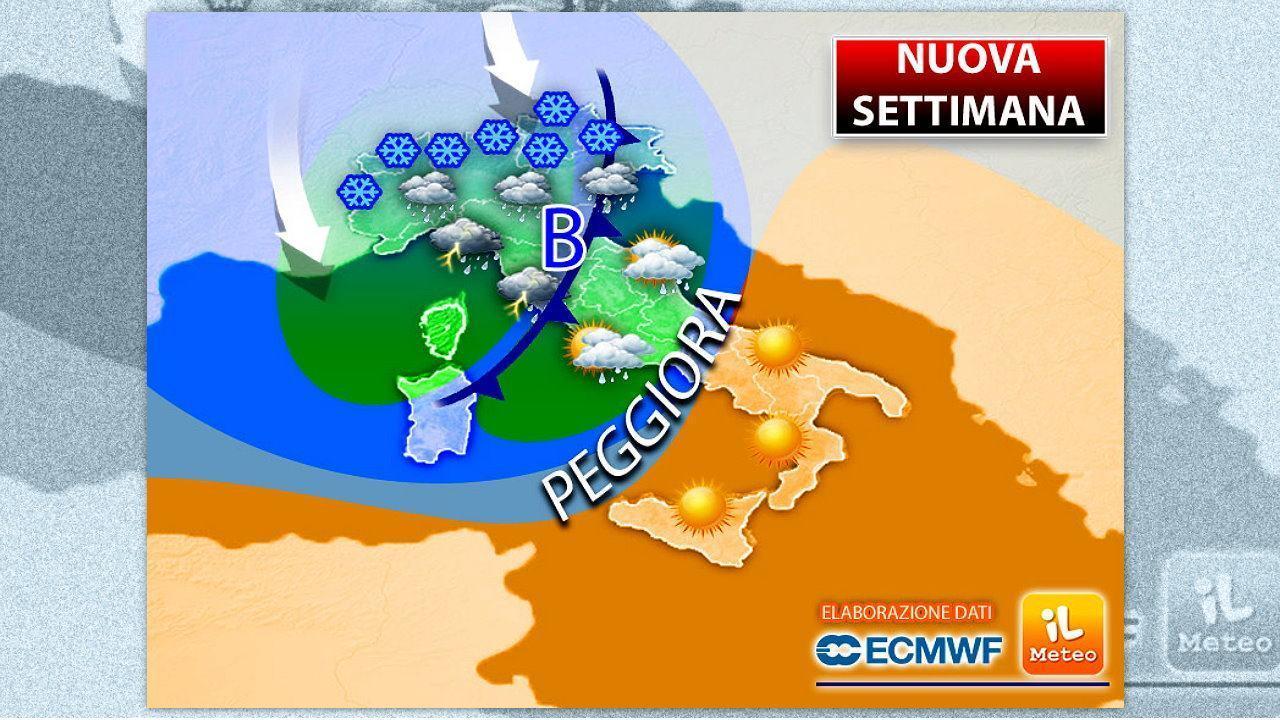 """Ancora il """"Generale Inverno"""" sull'Italia, in arrivo piogge, temporali e nevicate"""