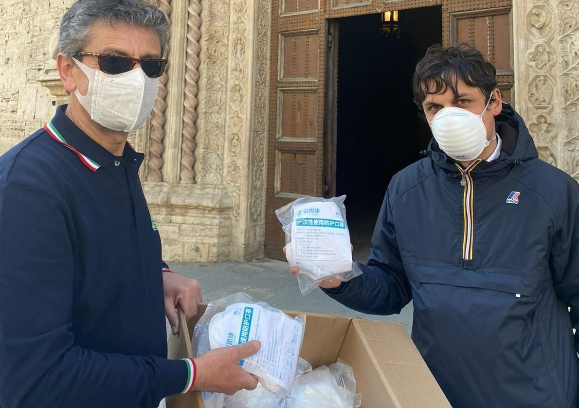 6mila mascherine al comune di Perugia dalla città cinese di Huangshan