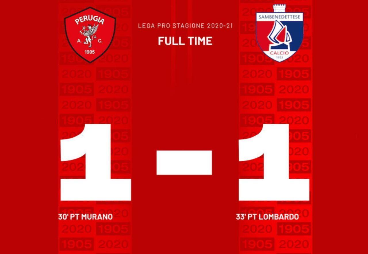 La Samb frena il Perugia calcio e la partita finisce uno a uno