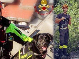 Dana e Kira, vanno in pensione i due cani-pompiere di Terni