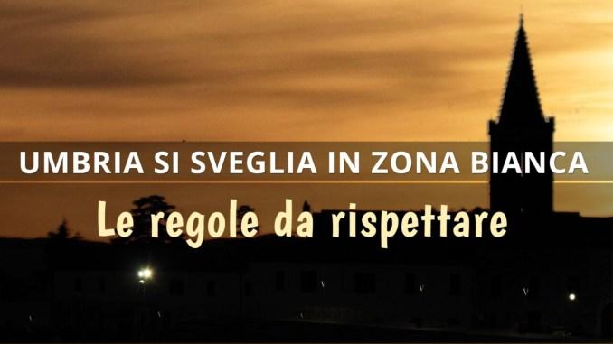 Umbria zona bianca, regione in fascia più bassa di rischio per covid, regole