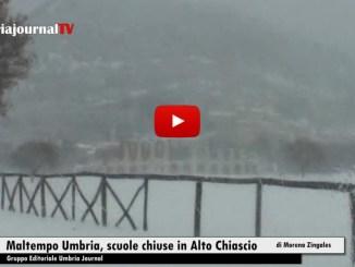 Maltempo in Umbria, forti nevicate, scuole chiuse a Gubbio, Nocera e Gualdo