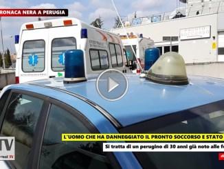 Ubriaco aveva danneggiato pronto soccorso passa in centro e viene denunciato a Perugia, il video
