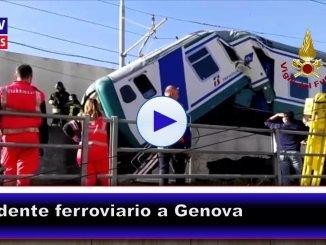 Genova, pompieri soccorrono macchinista su treno deragliato