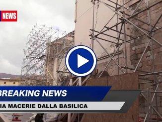 Verso rimozione macerie basilica Norcia Avviato cantiere per gabbia sulla controfacciata