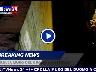 Video del muro del Duomo di Città di Castello crollato questa sera, intervento Vigili del fuoco