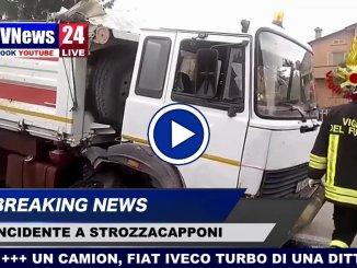 Camion rompe assale e perde le ruote, incidente a Strozzacapponi video della Pievaiola