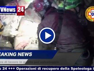 Video Sasu delle operazioni di salvataggio speleologa e compagni nella grotta di Frasassi di Ancona