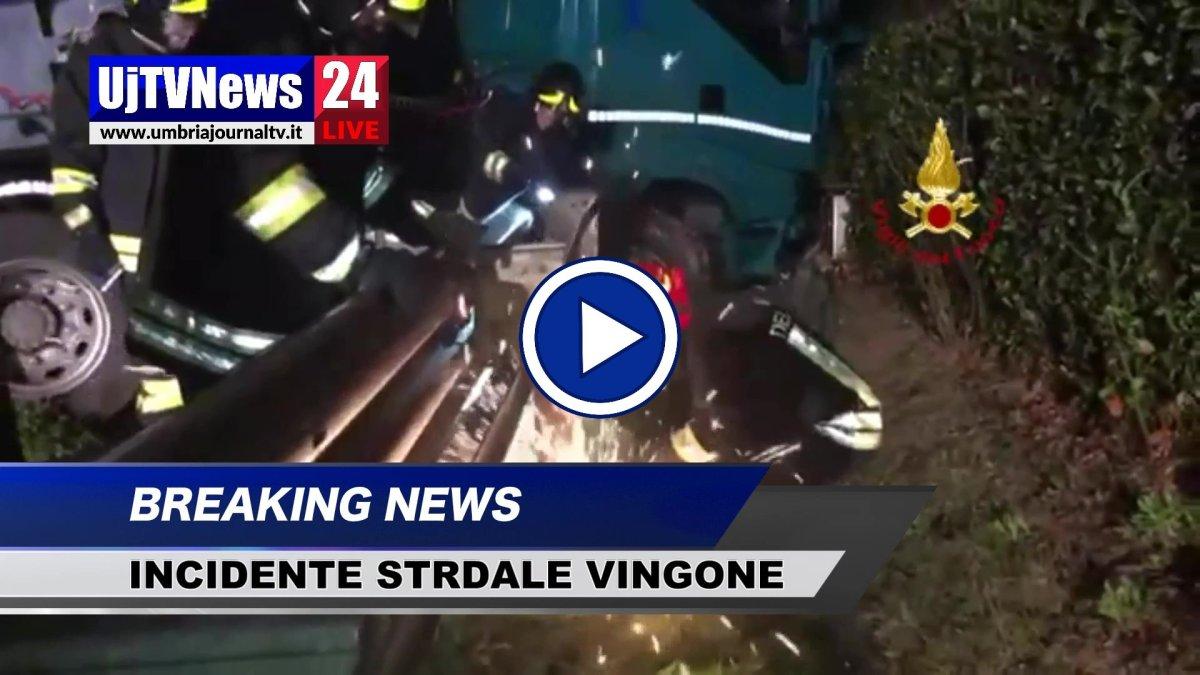 Incidente stradale a Vingone di Città di Castello, il video dell'intervento dei Vigili del fuoco