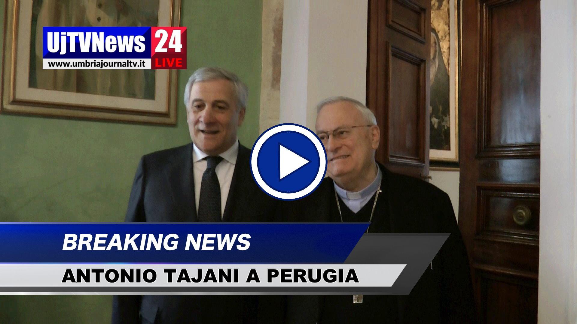 Antonio Tajani a Perugia incontra Cardinale Bassetti e sindaco Romizi