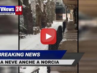 Neve a Norcia, ecco le immagini dopo la nevicata di questa notte, video