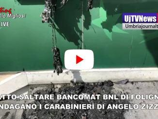 Esplosione nella notte, salta bancomat Bnl Foligno, indagano i Carabinieri |Video
