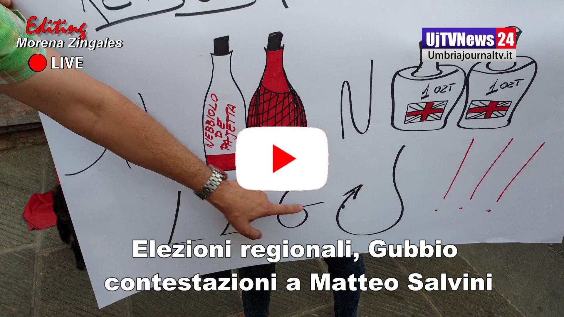 Elezioni Umbria, contestazioni a Gubbio per Matteo Salvini