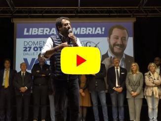 Elezioni Umbria, ultimo incontro prima del voto, Matteo Salvini in diretta live