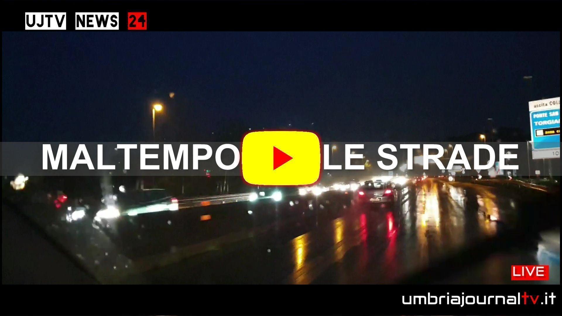 Immagini video girate dall'auto durante le ore di pioggia, con action cam