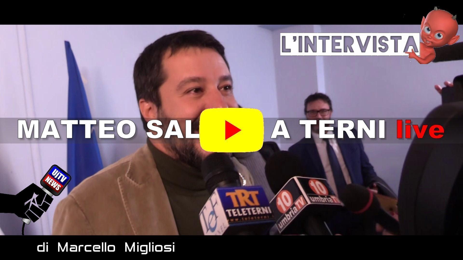 Matteo Salvini a Terni dopo vittoria elezioni regionali, intervista