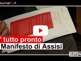 Giuseppe Conte e David Sassoli alla presentazione del Manifesto di Assisi