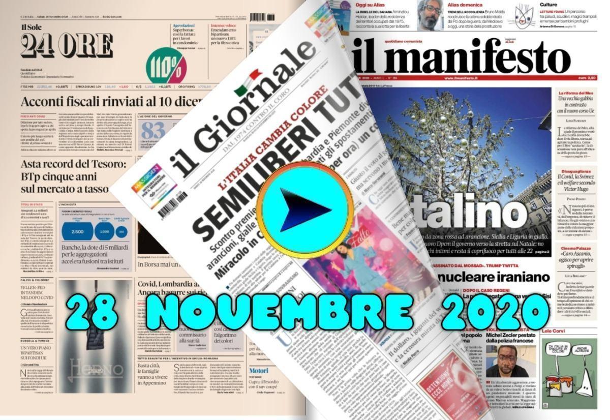La video rassegna stampa di sabato 28 novembre 2020