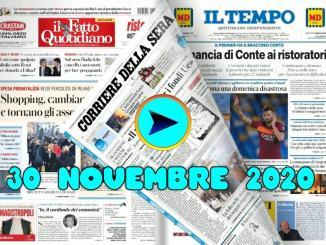 La video rassegna stampa del 30 novembre 2020, prime pagine pdf