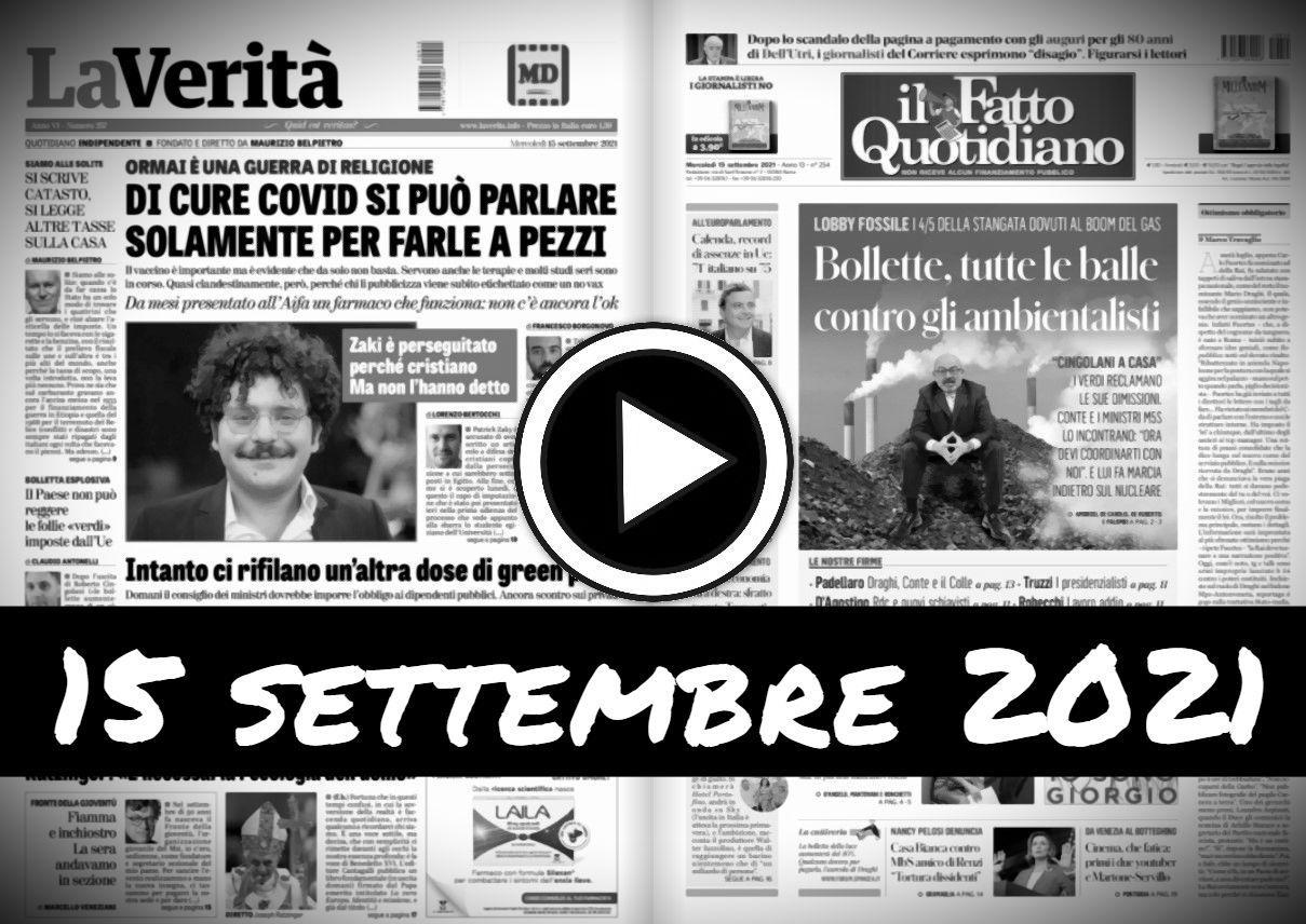 Video rassegna stampa giornali in pdf 15 settembre 2021 Umbriajournal