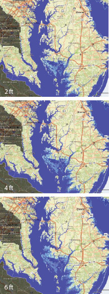 Maps of predicted sea level rise