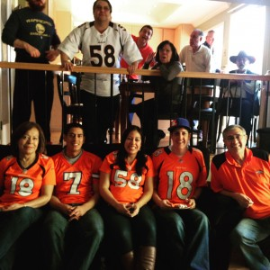 Watching the Broncos in Fremont, CA with my family