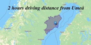 Two hours driving distance from Umeå. -Oalley