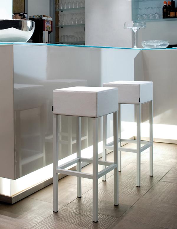 Pedrali Cube Soft Stool  Kitchen Furniture  Metal