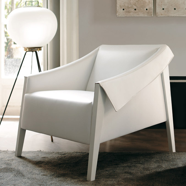 Porada Ara Lounge Chairs  Wooden  Leather  Fabric