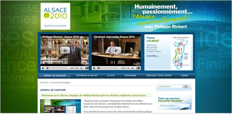 Le site de campagne de Philippe RICHERT pour les élections régionales de 2010