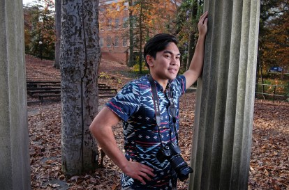 Joemmel Tendilla an aspiring photographer at the amphitheater, Tuesday Nov. 17, 2015. (Photo by Norm Shafer).