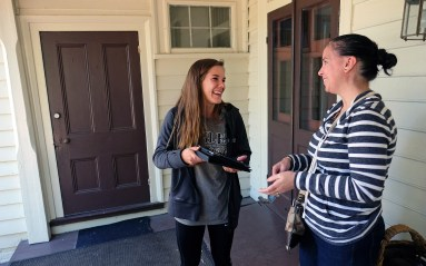 Maiah Bartlett interivews Maribel Segel at Meadow Farm in Henrico County.