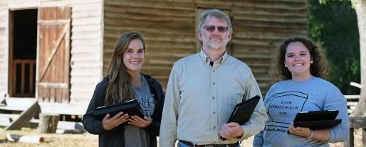 Maiah Bartlett, Steve Hanna and Sarah Rogers at Meadow Farm in Henrico County.