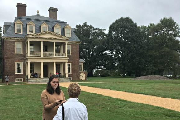 Christine MacKrell interviews a visitor at Shirley Plantation.