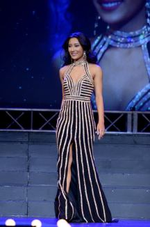 UMW senior Miss Hanover Amanda Lynn Short sparkled in a black and gold dress during the evening-wear segment of the 2017 Miss Virginia Pageant. Photo by Julius Tolentino