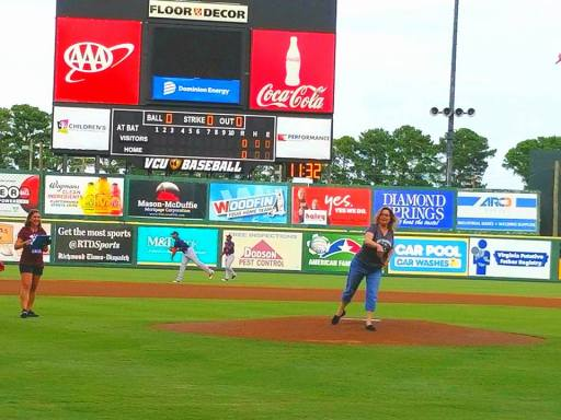 Lisa Bowling throws out the first pitch