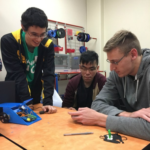 With 3D-printed plastic wheels and a micro-controller, this student-built battle bot is run through an app. #UMWMade