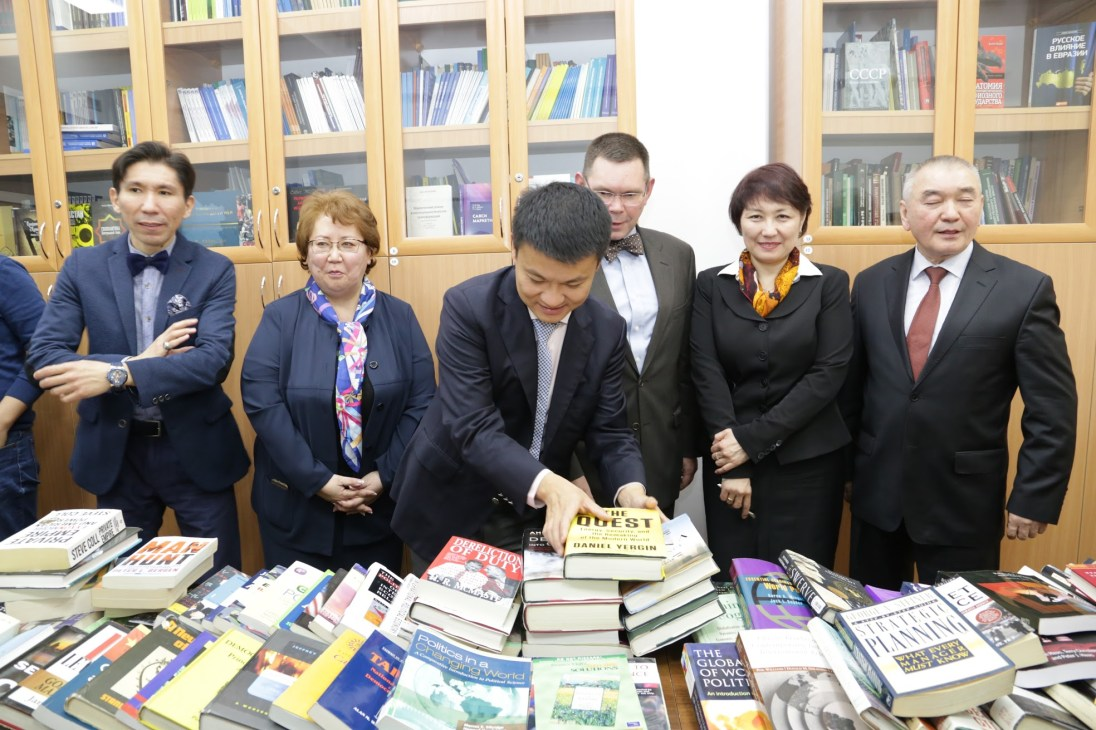 Faculty members from UMW's Department of Political Science and International Affairs contributed to a book drive headed by Professor Steve Farnsworth. The books were given to al-Farabi University in Kazakhstan.