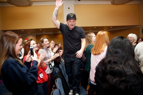 """Fred Lynn Middle School Principal Hamish Brewer spoke to University of Mary Washington College of Business students in the Chandler Ballroom. Also known as """"The Relentless Principal,"""" Brewer has made a name for himself with his unorthodox style of leadership."""