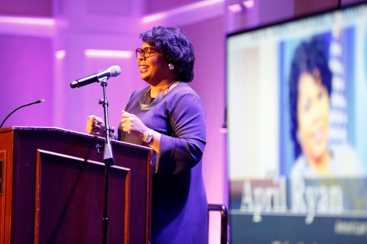 """Newsweek has called April Ryan """"one of America's most successful black journalists,"""" and she is one of a handful of African-American correspondents in the White House. Photo by Suzanne Rossi"""