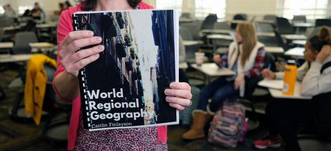Caitlie Finlayson's open textbook on World Geography has been downloaded over 2,000 times in over 30 countries.