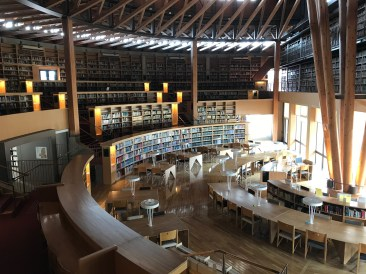The library at Akita International University. Cedar is the primary building material.